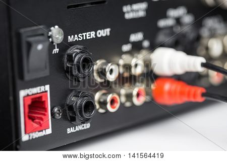 Rca Cables On Back Panel Of Dj Mixer