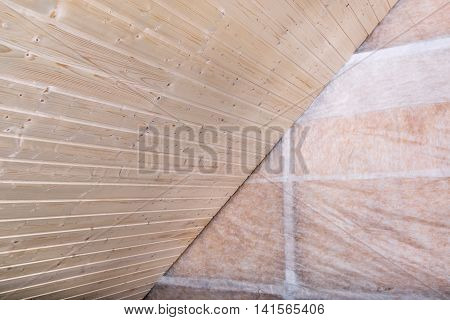 Heat Insulation And Wooden Logs Lathing Ready For Finishing Made Of Tongue And Groove Planks