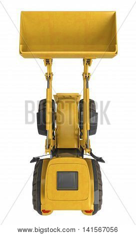tractor with a bucket isolted on white. top view. 3d rendering