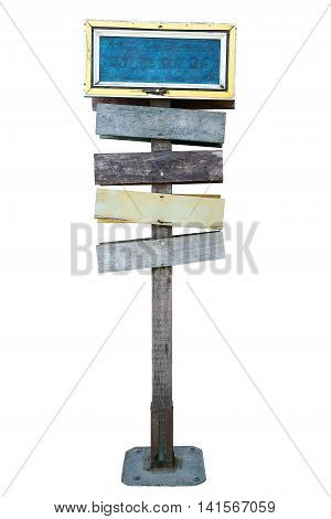 Old colourful wood signs on white background