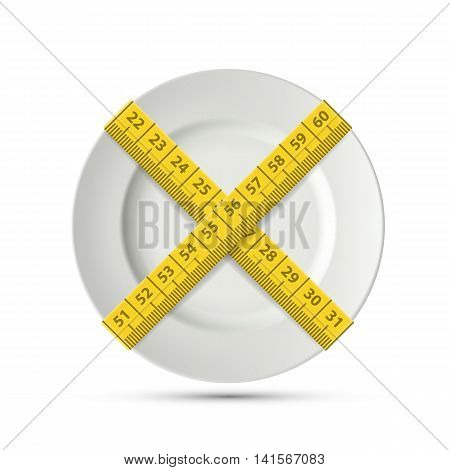 White plate with a tailor tape. Slimming and weight loss. Stock vector illustration.
