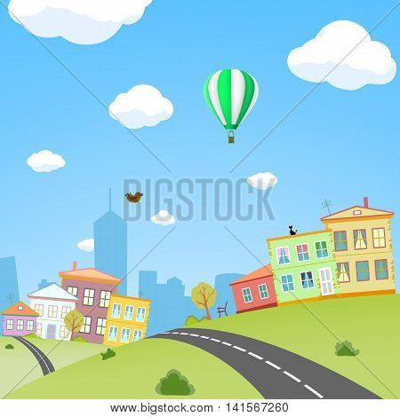 City with houses and streets. Urban landscape. Stock Vector cartoon illustration.