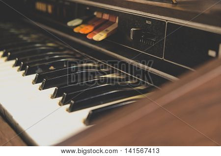 image of Antique reed organ close up