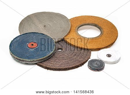 Industrial soft polishing buffing wheels on white background