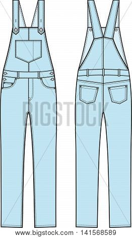 eac259ff3481 Vector illustration of denim coverall. Front and back views