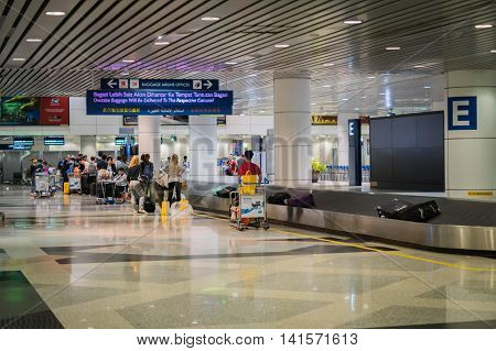 Kuala Lumpur, Malaysia - circa August 2016: Baggage claim area in Kuala Lumpur International Aiport, Malaysia. KLIA, Kuala Lumpur International Airport, is the largest airport in Malaysia and a major airport in Asia.