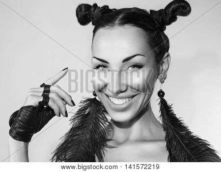 Emotional Beautiful Sexy Stylish Woman grain post. Cheeky Youth - ClubTrendy look. Stylish Fashion Accessory Creative Hairstyle and Make-up. Emotional cheerful Girl Beauty smiling face