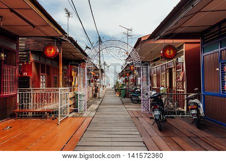 GEORGE TOWN MALAYSIA - MARCH 27: Heritage stilt houses of the Chew Clan Jetty George Town Penang Malaysia on March 27 2016.