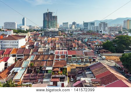 GEORGETOWN MALAYSIA - MARCH 27: Panoramic view over historical part of the Georgetown on March 27 2016 in Penang Malaysia.