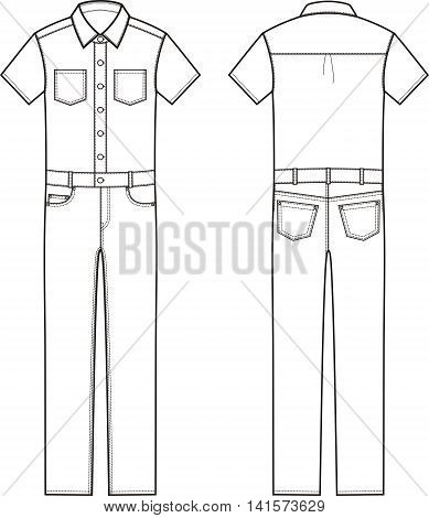 Vector illustration of men's denim coverall. Front and back views