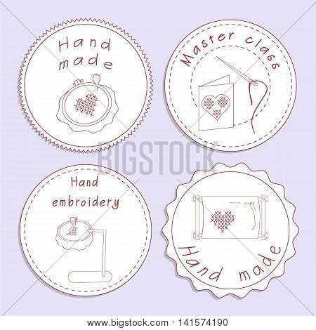 Set of badges with embroidery tools. Stock vector illustrations of objects for embroider handicraft hand made. It can be used for packaging textile label emblem.