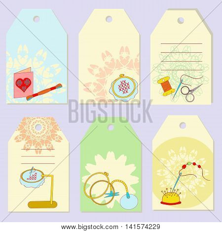 Set creative gift tags. Stock vector set of embroidery device equipment for fancywork. It can be used for planning invitation design