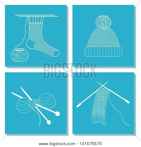 Set of cards with knitting needles sock scarf hat. The white line on blue background. Stock vector illustrations of objects of knitting handicraft hand made. It can be used for packaging textile label emblem.
