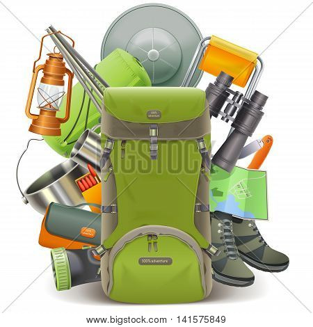 Vector Camping Concept with Haversack isolated on white background