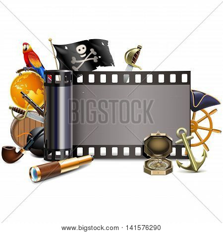 Vector Pirate Film isolated on white background
