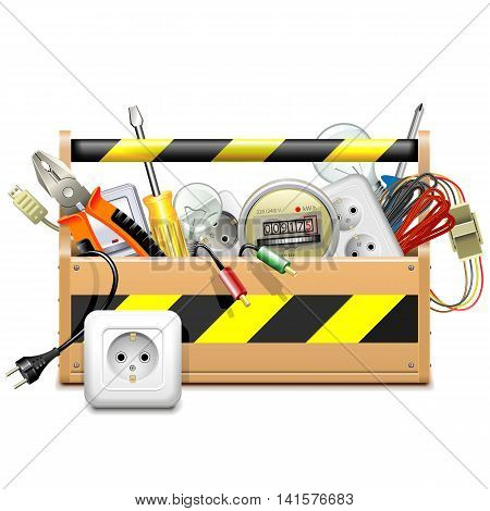 Vector Toolbox with Electric Accessories isolated on white background
