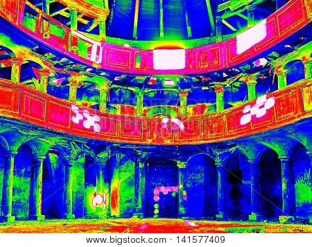 Infra Scan, Thermography Photo. Interior Of Abandoned  Evangelical Church