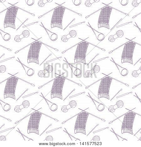 Seamless pattern of knitting and crafts icons. The purple line on a white. Knitting needles yarn thread crochet hooks. Background for use in design web site packing wall paper textile Vector illustration
