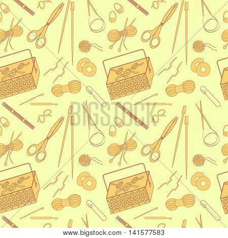 Seamless pattern of knitting and crafts icons. Knitting needles yarn thread crochet hooks basket. Background for use in design web site packing wall paper textile. Vector illustration.