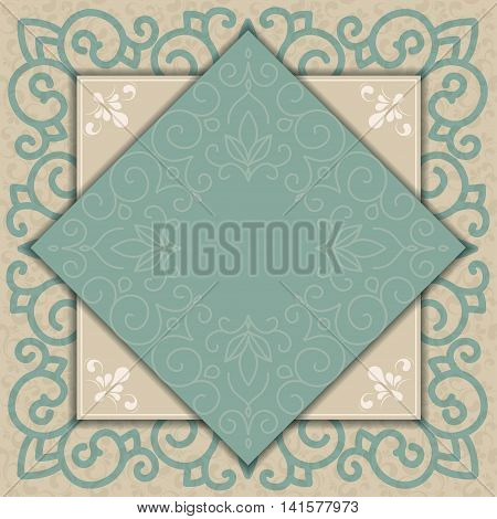Stock Vector Illustration: Vintage background with damask pattern in retro style