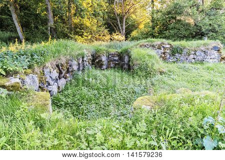 The ruins of Mollerod castle reclaimed by nature in the swedish region of Skane.