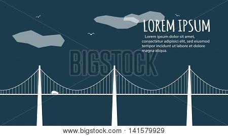 Modern bridge facade banner. Minimalistic banner. Abstract minimal style architecture background. Bridge landscape concept illustration. Retro colors stylization poster