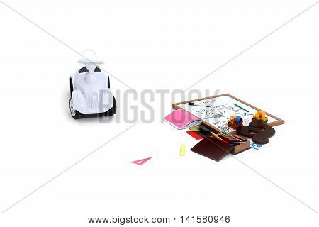 Plastic car toy note board wooden box with colored pencils colorful rulers triangle alphabet and exercise book and other school stationery on white background isolated