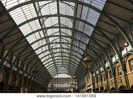 LONDON, UNITED KINGDOM - SEPTEMBER 12 2015: Covent Garden glazed roof in London architectural with no people