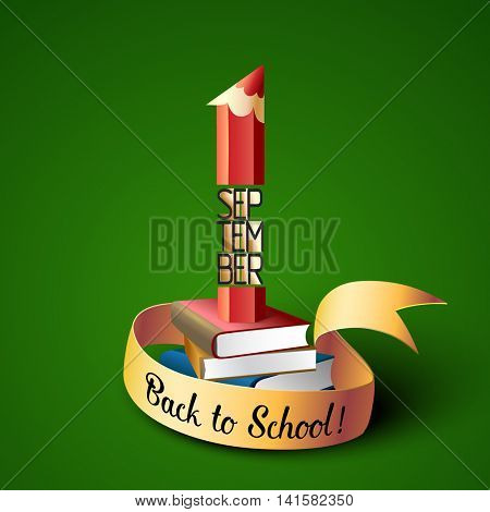September 1st. Back To School background with pencil and books. Poster, greeting card or brochure template. Vector illustration.