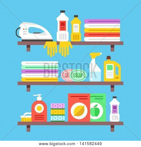Household cleaning products, chemicals, supplies and objects on shelves. Flat design vector illustration