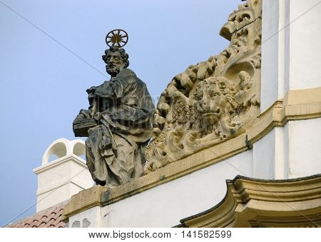 Statue of the prophet in the decoration of the monastery Loreta in Prague