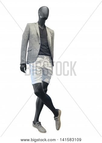 Male mannequin dressed in gray jacket and white sort isolated on white background. No brand names or copyright objects.