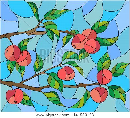 Illustration in the style of a stained glass window with the branches of Apple trees the fruit branches and leaves against the sky