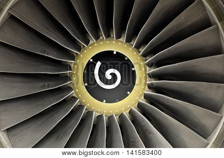 Close-up of a turbo fan jet engine