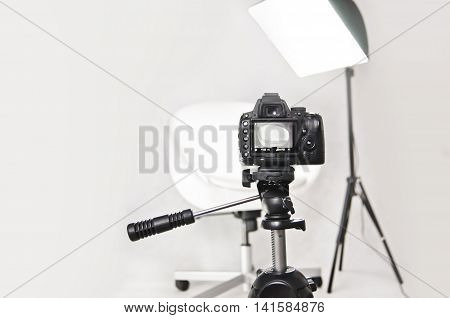Photography studio interior - camera ready black and white tones