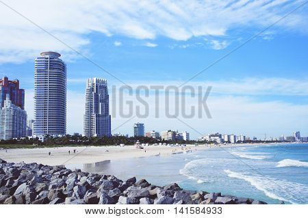 Miami Beach skyline view from South Point Pier, United States