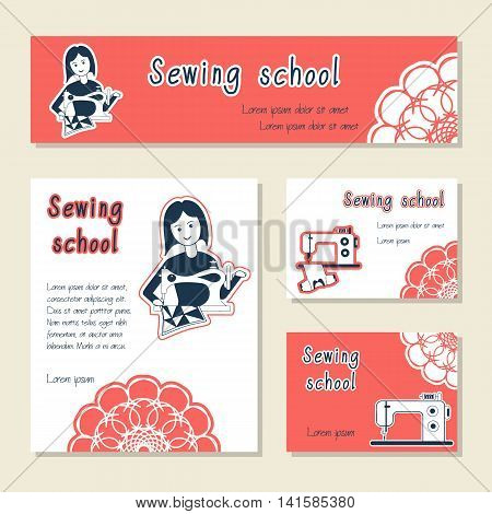 Vector set of cards template for sewing school tailor shop shop sewing machines. Flat icon sewing girl seamstress. Set of template for business card banner poster magazine presentation logo.