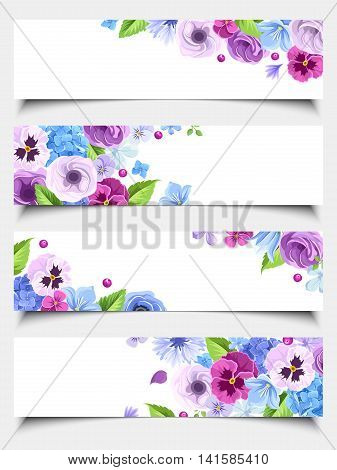 Vector set of four web banners with blue and purple pansies, cornflowers, lisianthuses, bluebells and hydrangea flowers.