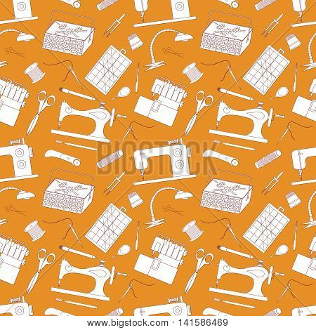 Vector seamless pattern background sewing tools. It can be used for a notebook page poster postcard invitations banner advertising print textile web design album brochures book tailor.