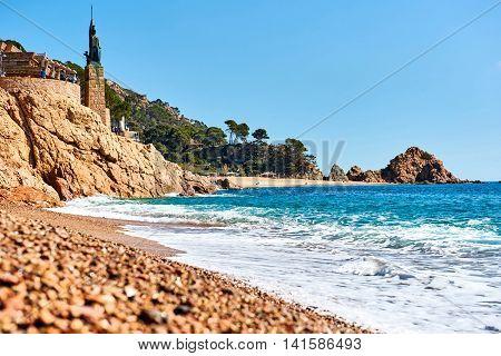 Statue of Minerva on the embankment of Tossa de Mar Costa Brava Catalonia Spain