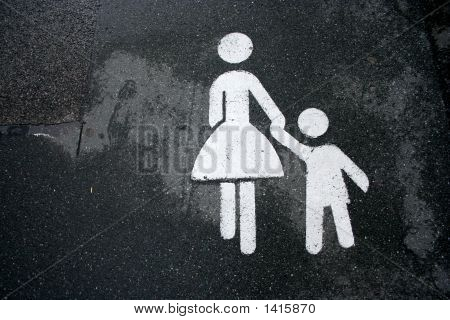 Mother And Child Sign Holding Hands