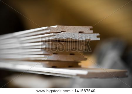 Wooden slot and key boards closeup. Construction concept