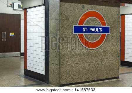 LONDON, UNITED KINGDOM - SEPTEMBER 12 2015: St.Paul's metro station platform with nobody around