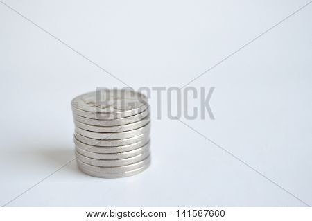 Single stack of U.S. nickels lower left