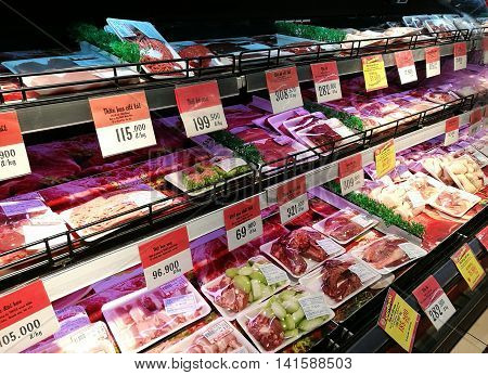 Hanoi, Vietnam - Aug 7, 2016: Packed fresh beef and pork for sale at Big C supermarket. Big C Supercenter is a grocery and general merchandising retailer headquartered in Bangkok, Thailand.