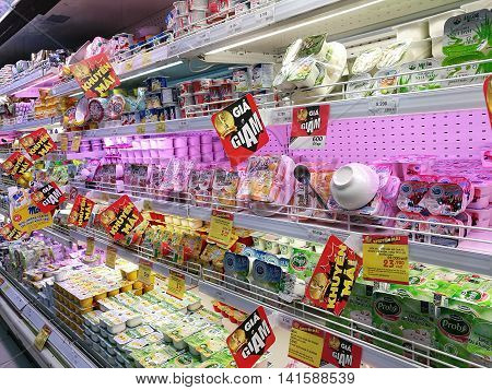 Hanoi, Vietnam - Aug 7, 2016: Milk and products from milk for sale t Big C supermarket. Big C Supercenter is a grocery and general merchandising retailer headquartered in Bangkok, Thailand.
