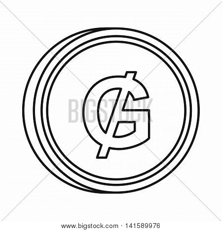 Paraguayan guarani sign icon in outline style isolated on white background