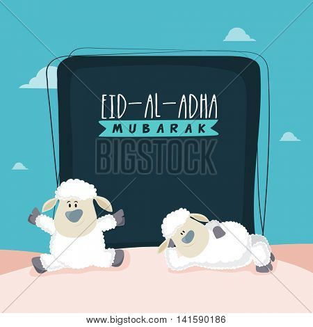 Muslim Community, Festival of Sacrifice, Eid-Al-Adha Mubarak with illustration of a Cute funny, Baby Sheeps, Vector greeting card design.