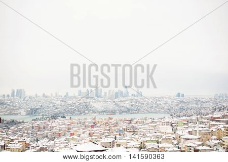 Winter Views From Bosphorus And Uskudar Of Istanbul In Turkey