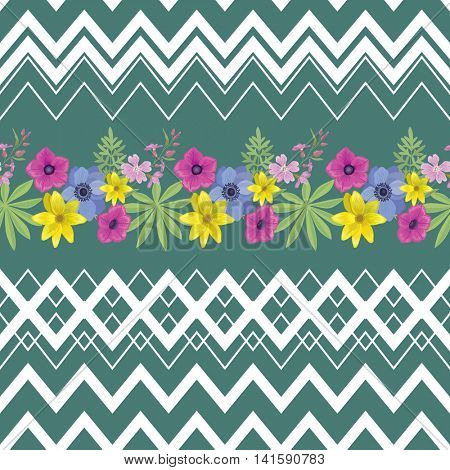 Beautiful Flower Seamless Pattern with Zigzag Stripes . Summer Fashion Background. Vector Ornament for Fabric, Wrapping, Wallpaper.
